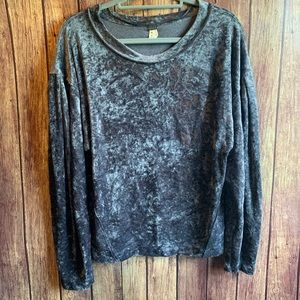 We the Free Gray Milan Velour Velvet Sweater